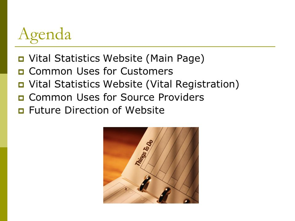 Agenda Vital Statistics Website (Main Page) Common Uses for Customers Vital Statistics Website (Vital Registration) Common Uses for Source Providers Future Direction of Website