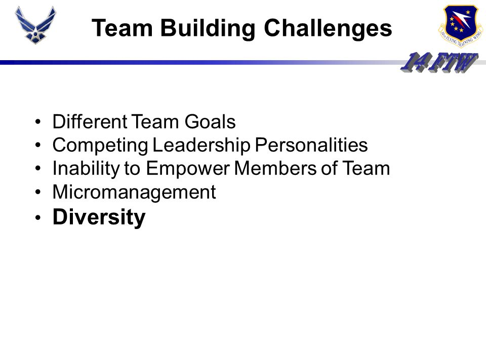 Team Building Challenges Different Team Goals Competing Leadership Personalities Inability to Empower Members of Team Micromanagement Diversity