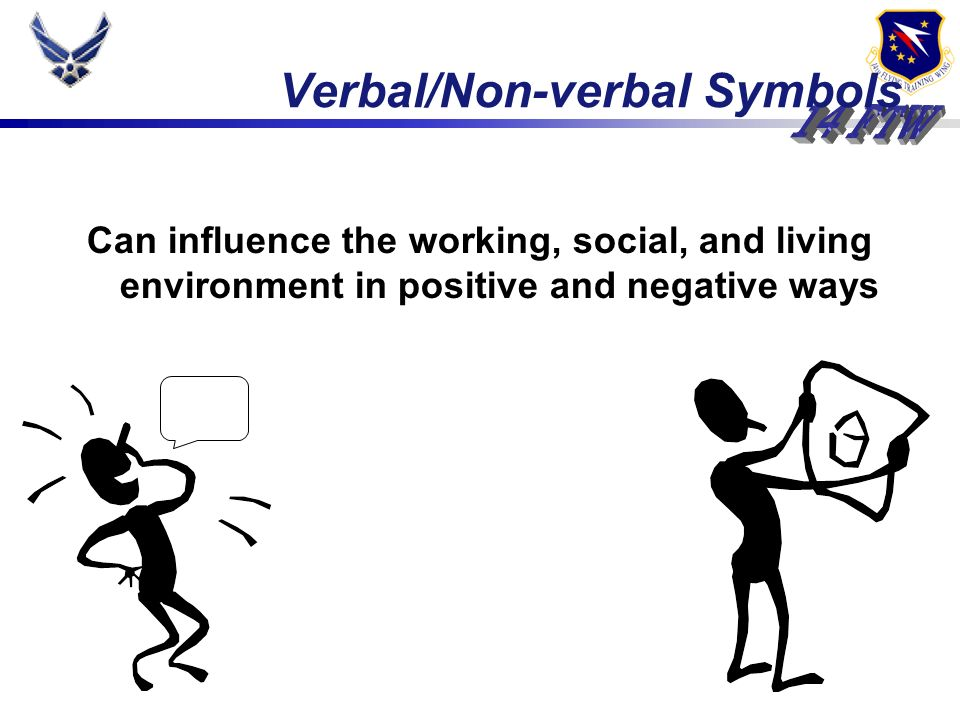 Verbal/Non-verbal Symbols Can influence the working, social, and living environment in positive and negative ways