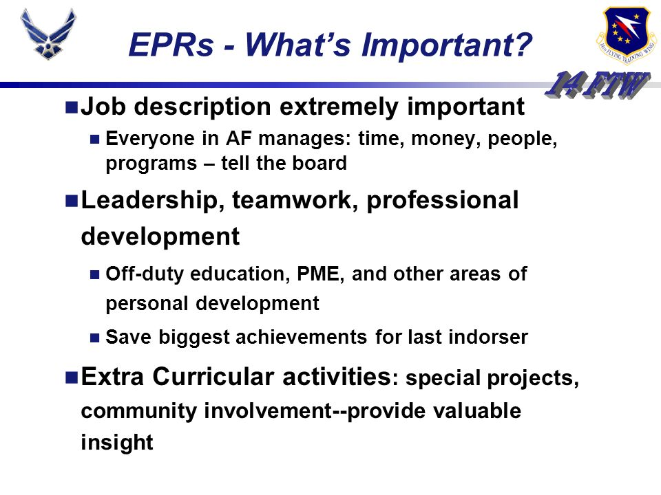 EPRs - Whats Important.