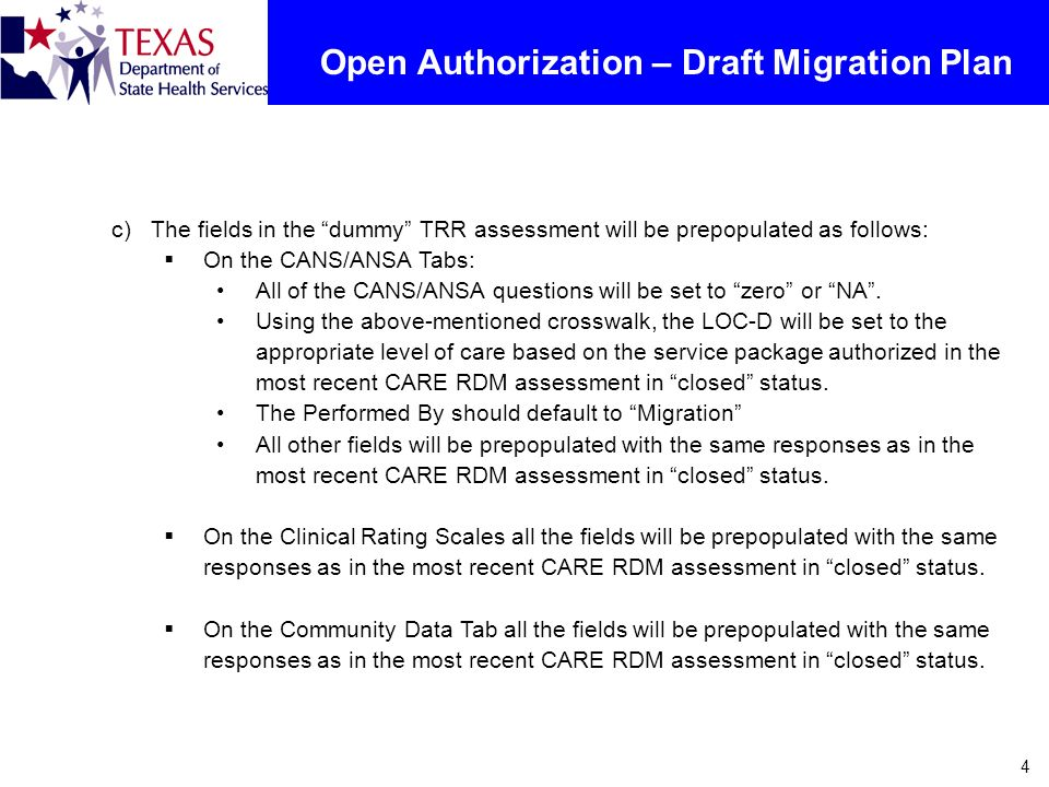 4 Open Authorization – Draft Migration Plan c)The fields in the dummy TRR assessment will be prepopulated as follows: On the CANS/ANSA Tabs: All of th