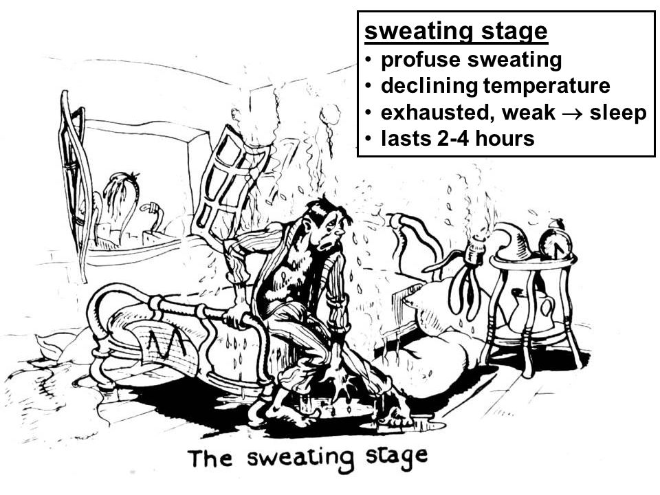 sweating stage profuse sweating declining temperature exhausted, weak sleep lasts 2-4 hours