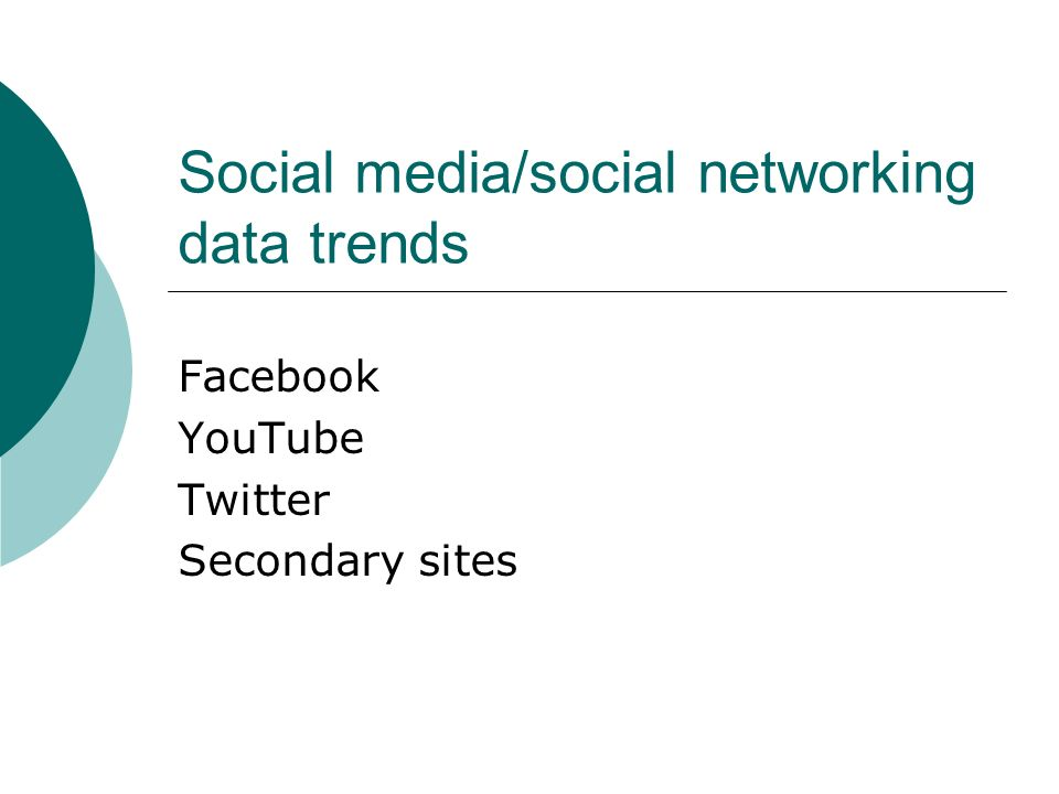 Social media/social networking data trends Facebook YouTube Twitter Secondary sites