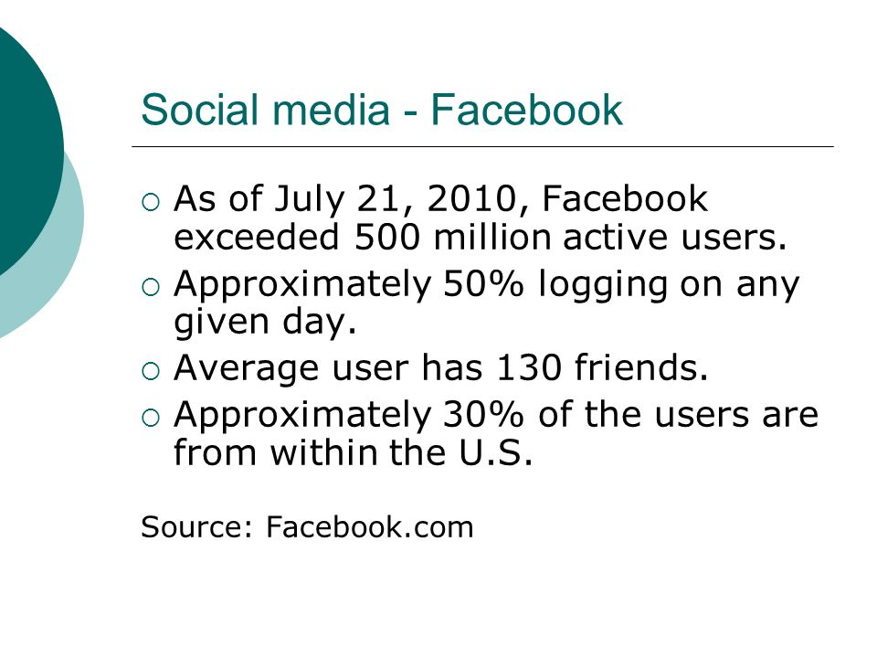 Social media - Facebook As of July 21, 2010, Facebook exceeded 500 million active users. Approximately 50% logging on any given day. Average user has