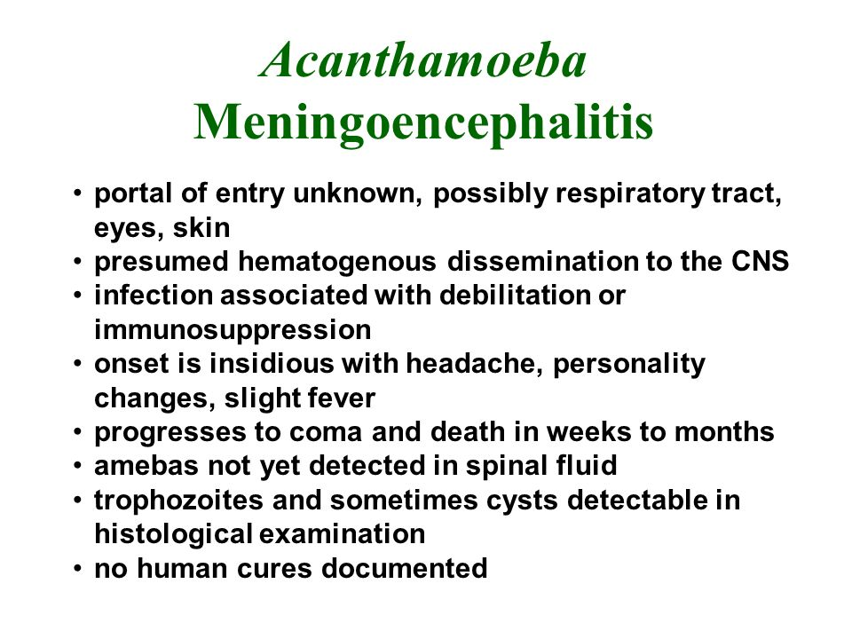 Acanthamoeba Meningoencephalitis portal of entry unknown, possibly respiratory tract, eyes, skin presumed hematogenous dissemination to the CNS infection associated with debilitation or immunosuppression onset is insidious with headache, personality changes, slight fever progresses to coma and death in weeks to months amebas not yet detected in spinal fluid trophozoites and sometimes cysts detectable in histological examination no human cures documented