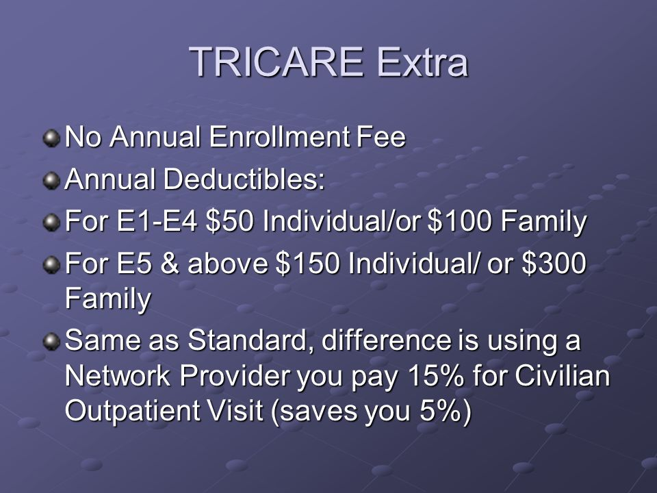 TRICARE Extra No Annual Enrollment Fee Annual Deductibles: For E1-E4 $50 Individual/or $100 Family For E5 & above $150 Individual/ or $300 Family Same as Standard, difference is using a Network Provider you pay 15% for Civilian Outpatient Visit (saves you 5%)