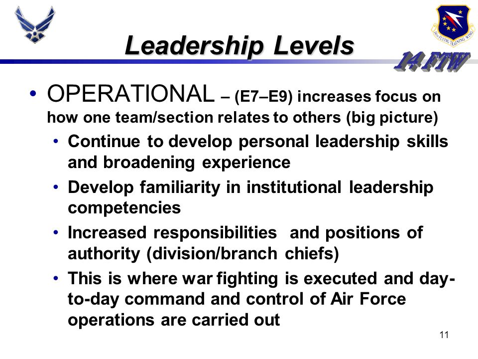10 TACTICAL – (E1–E6) learn/perfect primary skills Honing follower-ship abilities, influencing peers and motivating subordinates Learn about themselve