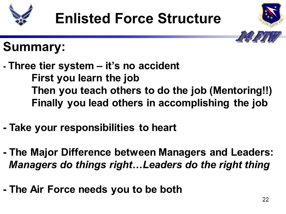 21 Mission Impact Enlisted Force Structure establishes the foundation from which the mission gets done Enlisted Force Structure establishes structure