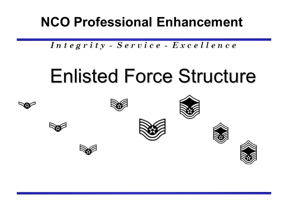 NCO Professional Development Enlisted Force Structure I n t e g r i t y - S e r v i c e - E x c e l l e n c e Building the Worlds Best Pilots, Leaders