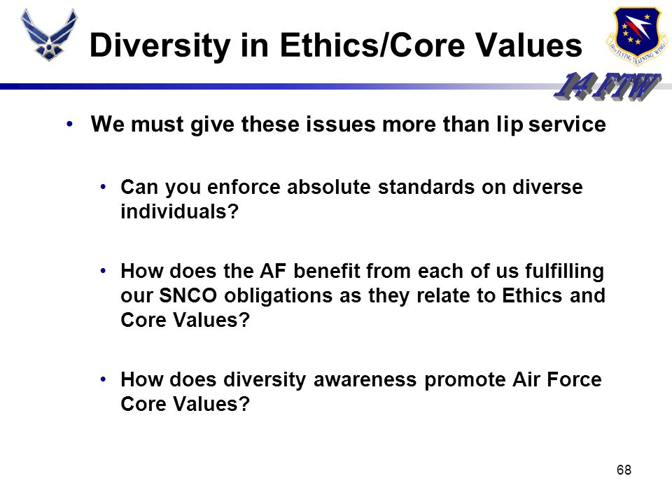 67 Youve lived the Core Values for years--your experience is valuable What do you believe your role to be with regard to Air Force Core Values? Who do