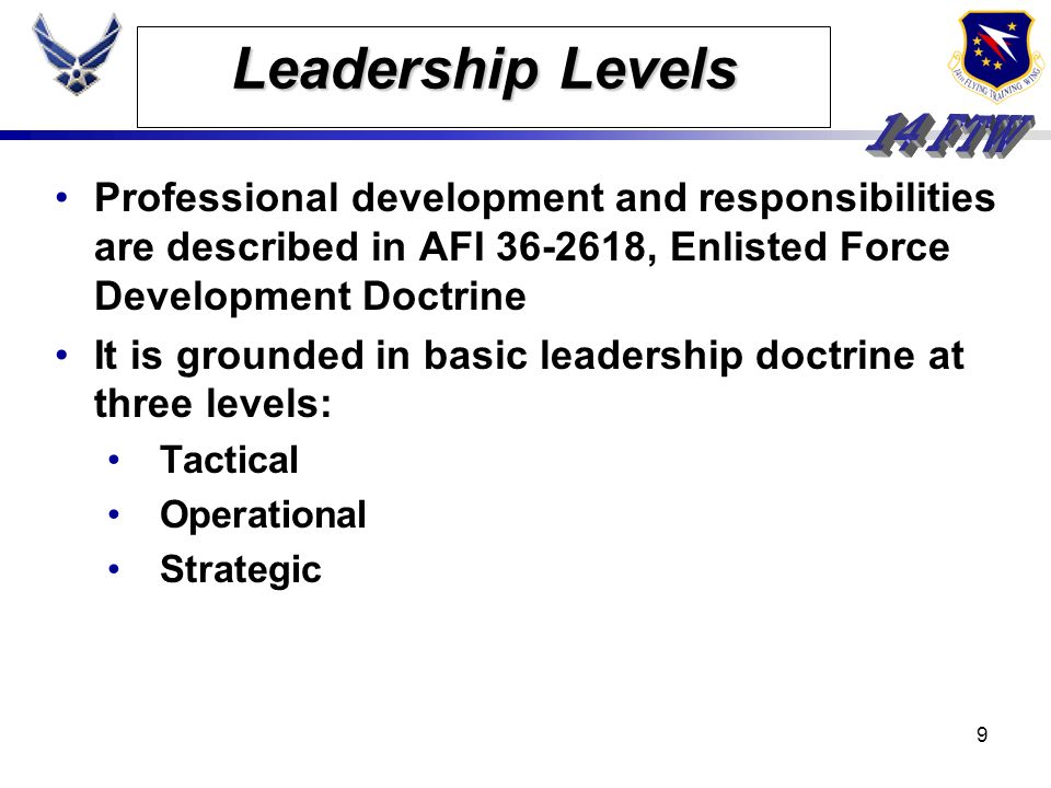 8 Enlisted Force Structure Senior Noncommissioned Officer Tier CMSgt SMSgt MSgt Superintendent/Manager Craftsman/Supervisor/Manager Noncommissioned Of