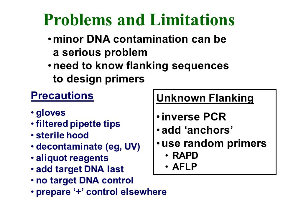 Problems and Limitations minor DNA contamination can be a serious problem need to know flanking sequences to design primers Precautions gloves filtered pipette tips sterile hood decontaminate (eg, UV) aliquot reagents add target DNA last no target DNA control prepare + control elsewhere Unknown Flanking inverse PCR add anchors use random primers RAPD AFLP