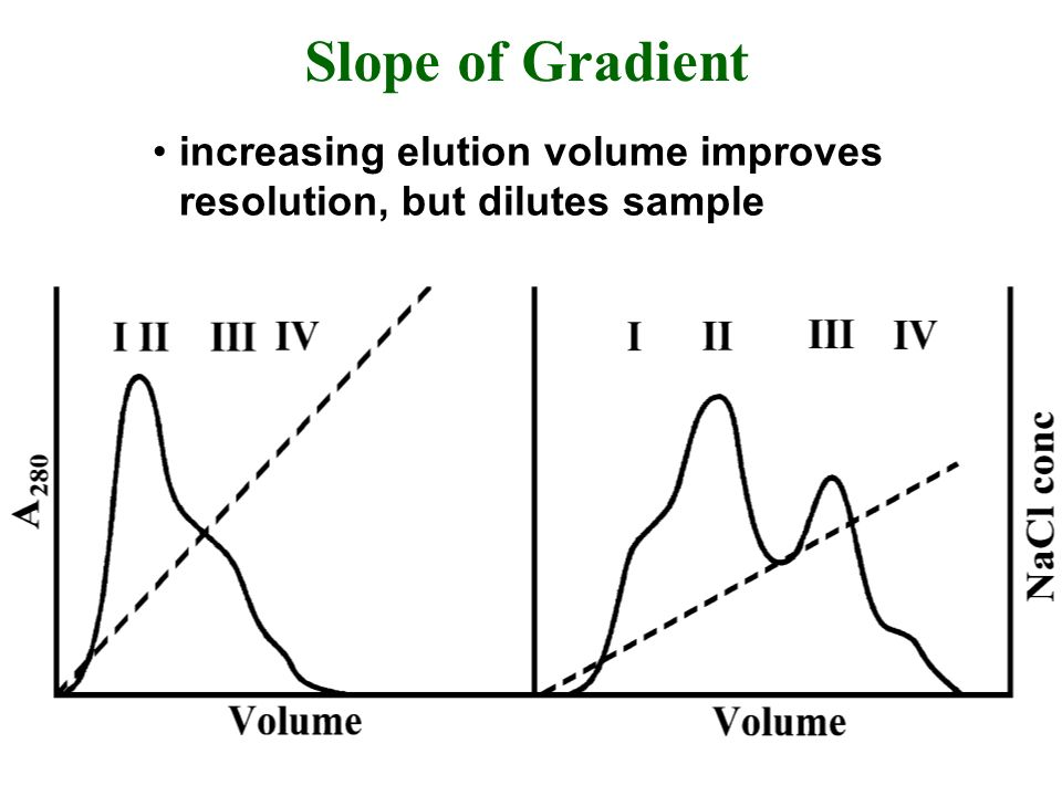 Slope of Gradient increasing elution volume improves resolution, but dilutes sample