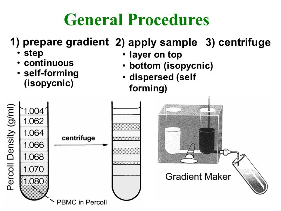 General Procedures 1) prepare gradient step continuous self-forming (isopycnic) 2) apply sample layer on top bottom (isopycnic) dispersed (self formin