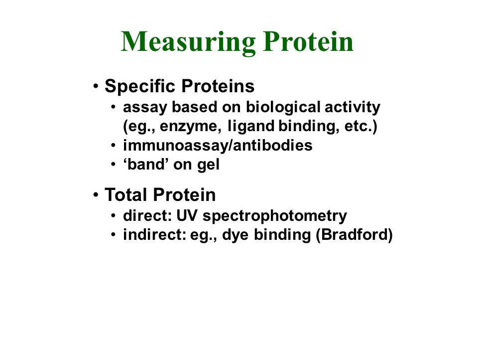Measuring Protein Specific Proteins assay based on biological activity (eg., enzyme, ligand binding, etc.) immunoassay/antibodies band on gel Total Protein direct: UV spectrophotometry indirect: eg., dye binding (Bradford)