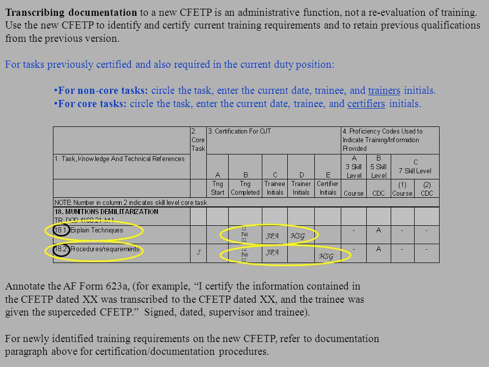 Transcribing documentation to a new CFETP is an administrative function, not a re-evaluation of training. Use the new CFETP to identify and certify cu
