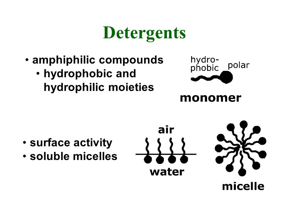 Detergents amphiphilic compounds hydrophobic and hydrophilic moieties surface activity soluble micelles