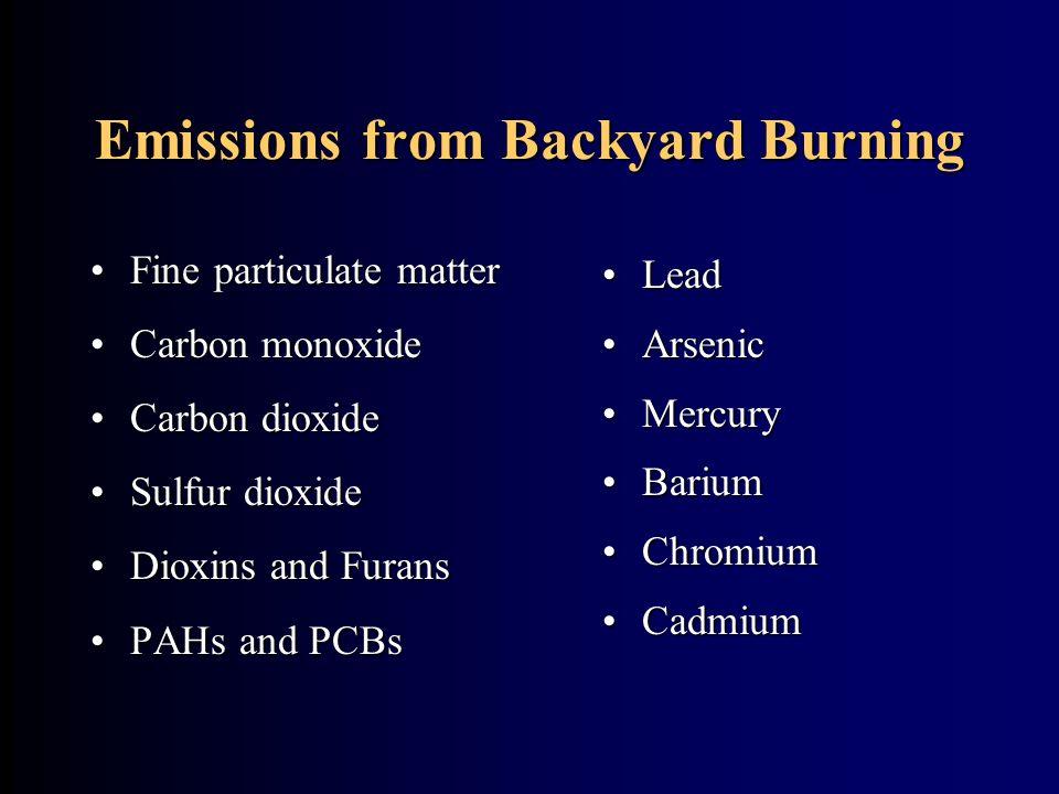 Emissions from Backyard Burning Lead Arsenic Mercury Barium Chromium Cadmium Fine particulate matterFine particulate matter Carbon monoxideCarbon mono