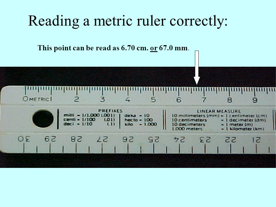 Reading a metric ruler correctly: This point can be read as 6.70 cm. or 67.0 mm.