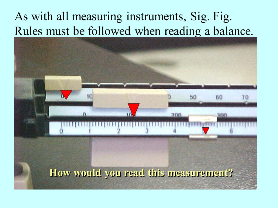 As with all measuring instruments, Sig. Fig. Rules must be followed when reading a balance.