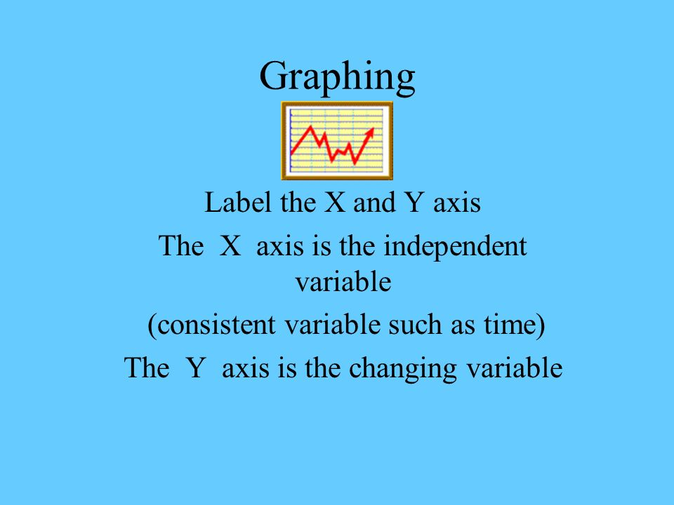 Graphing Label the X and Y axis The X axis is the independent variable (consistent variable such as time) The Y axis is the changing variable