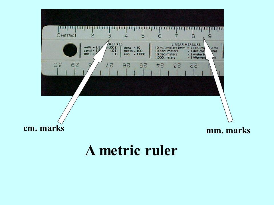 A metric ruler cm. marks mm. marks