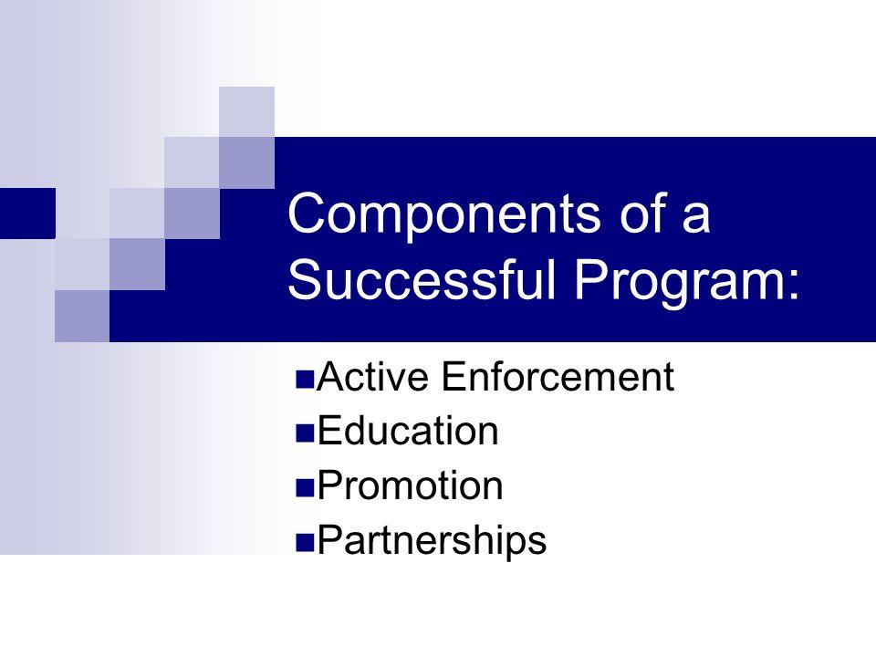 Components of a Successful Program: Active Enforcement Education Promotion Partnerships