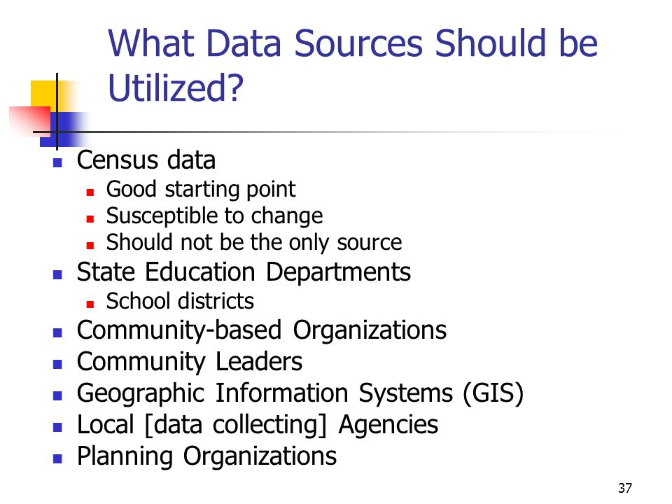 37 What Data Sources Should be Utilized.