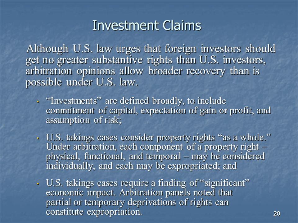20 Investment Claims Although U.S.