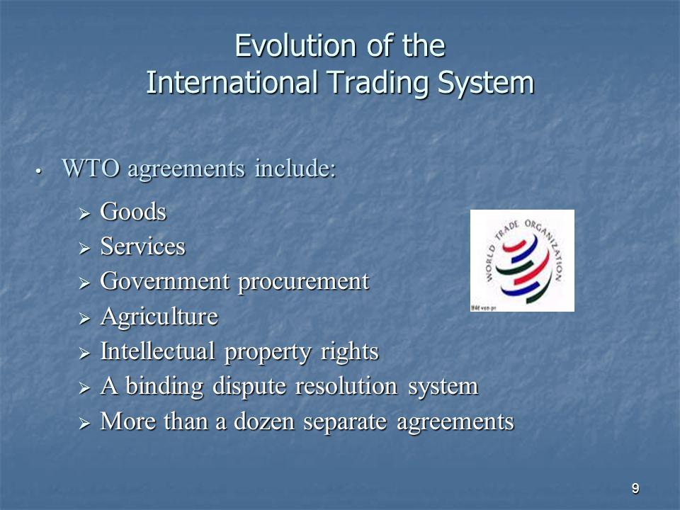 10 Evolution of the International Trading System Since the Uruguay Round… North American Free Trade Agreement (NAFTA) North American Free Trade Agreement (NAFTA) U.S.