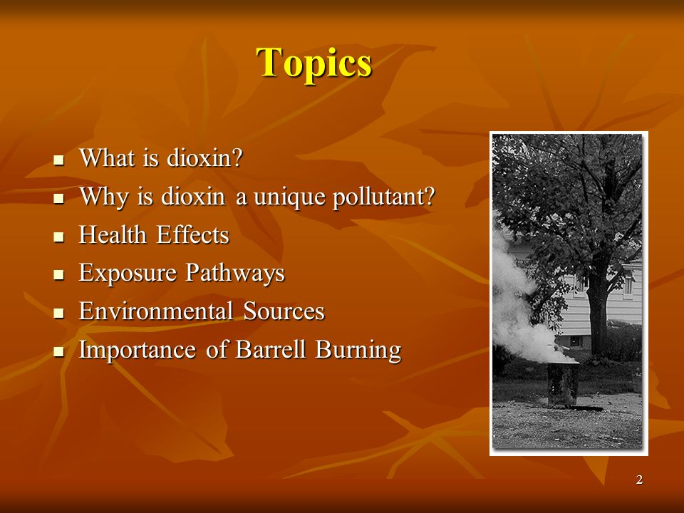 2 Topics What is dioxin? What is dioxin? Why is dioxin a unique pollutant? Why is dioxin a unique pollutant? Health Effects Health Effects Exposure Pa