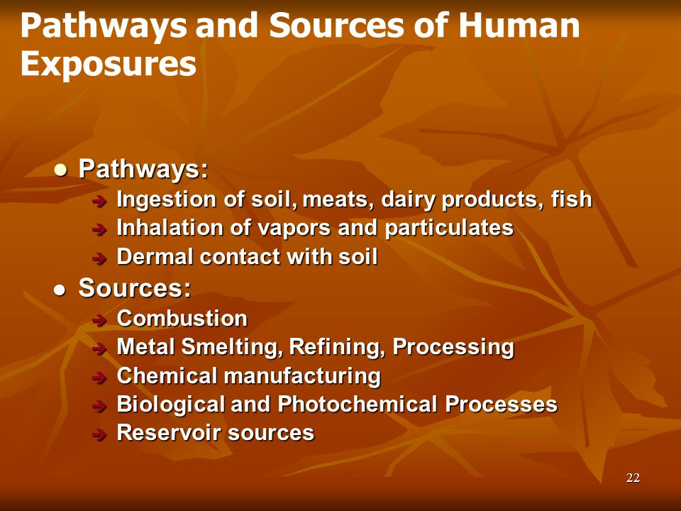 22 Pathways: Pathways: Ingestion of soil, meats, dairy products, fish Ingestion of soil, meats, dairy products, fish Inhalation of vapors and particul