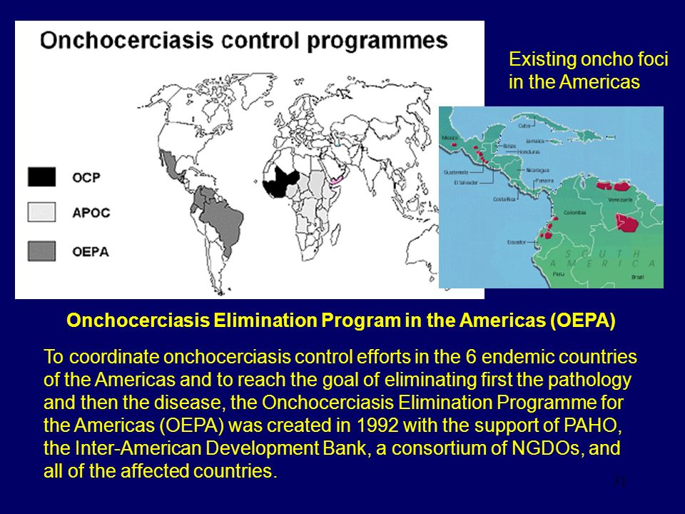31 Onchocerciasis Elimination Program in the Americas (OEPA) To coordinate onchocerciasis control efforts in the 6 endemic countries of the Americas a