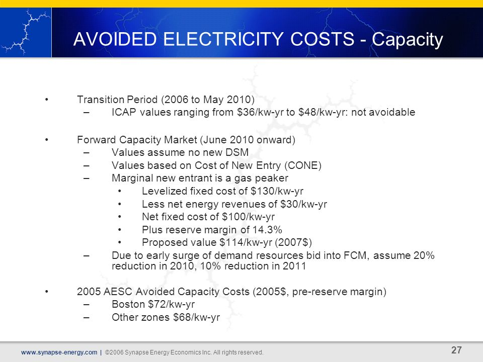 27 www.synapse-energy.com | ©2006 Synapse Energy Economics Inc.