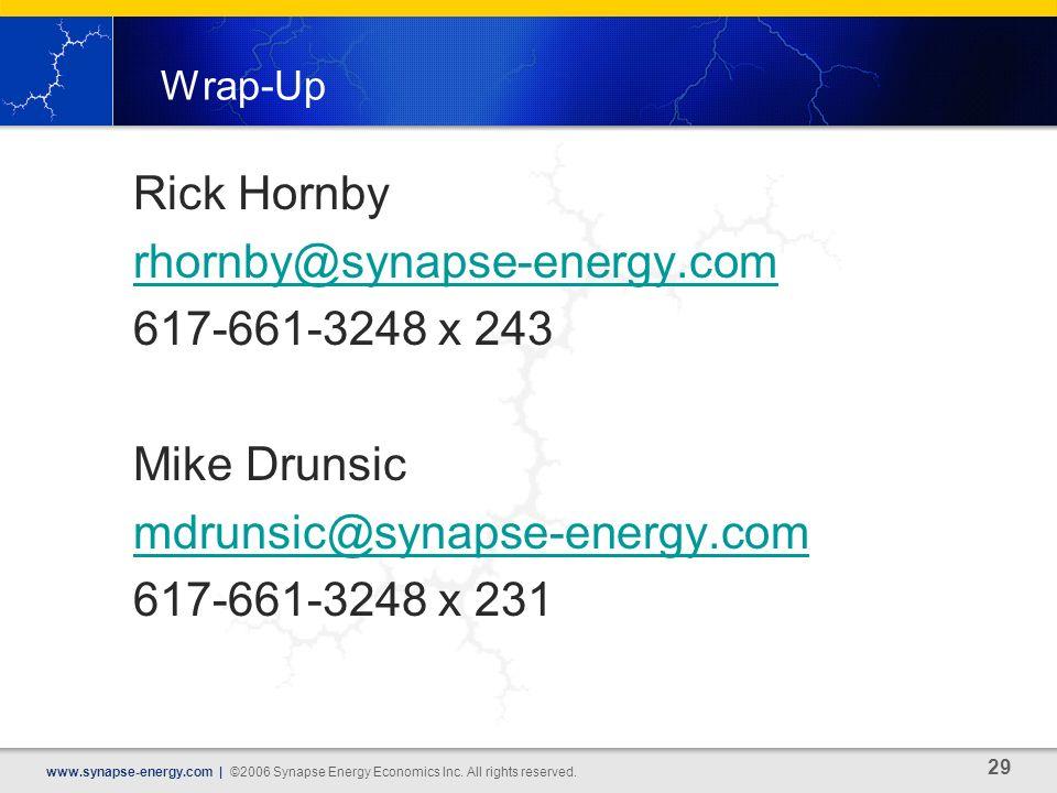 29 www.synapse-energy.com | ©2006 Synapse Energy Economics Inc.