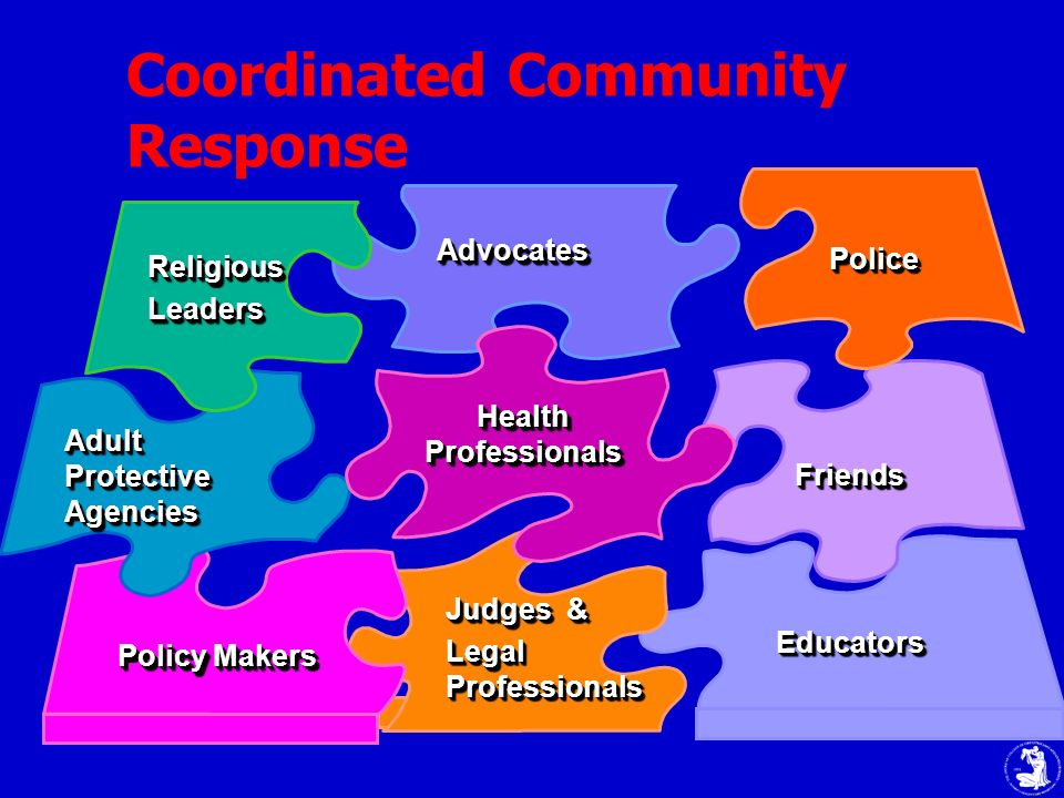 Coordinated Community Response ReligiousLeadersReligiousLeaders AdvocatesAdvocates PolicePolice Adult Protective Agencies Health Professionals EducatorsEducators FriendsFriends Policy Makers Judges & Legal Professionals Judges & Legal Professionals