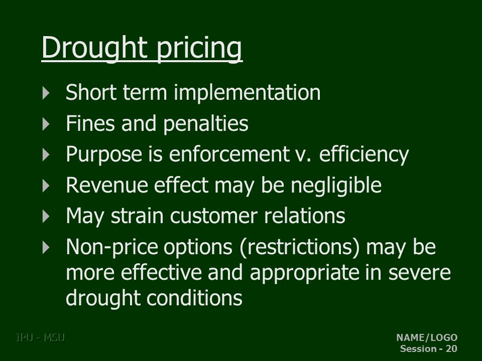 NAME/LOGO Session - 20 IPU - MSU Drought pricing Short term implementation Fines and penalties Purpose is enforcement v.