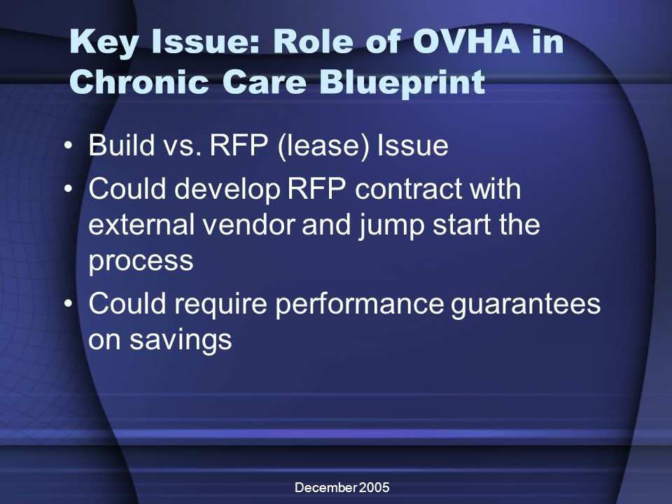 December 2005 Key Issue: Role of OVHA in Chronic Care Blueprint Build vs. RFP (lease) Issue Could develop RFP contract with external vendor and jump s