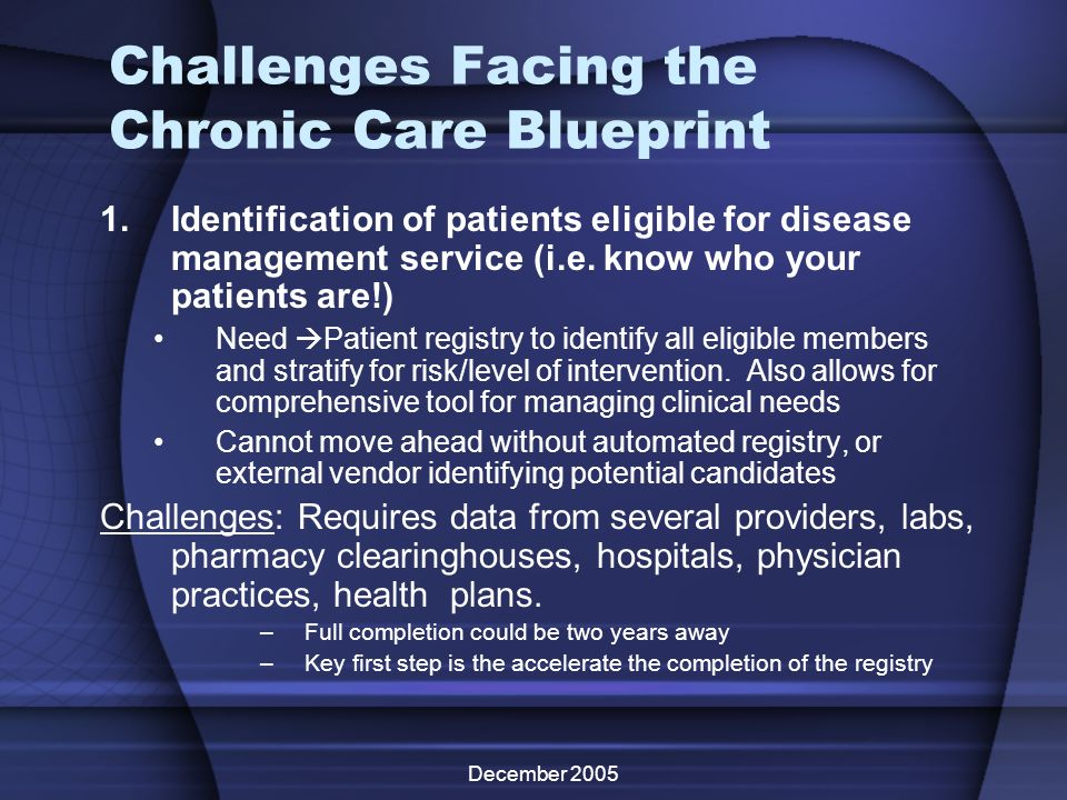 December 2005 Challenges Facing the Chronic Care Blueprint 1.Identification of patients eligible for disease management service (i.e. know who your pa
