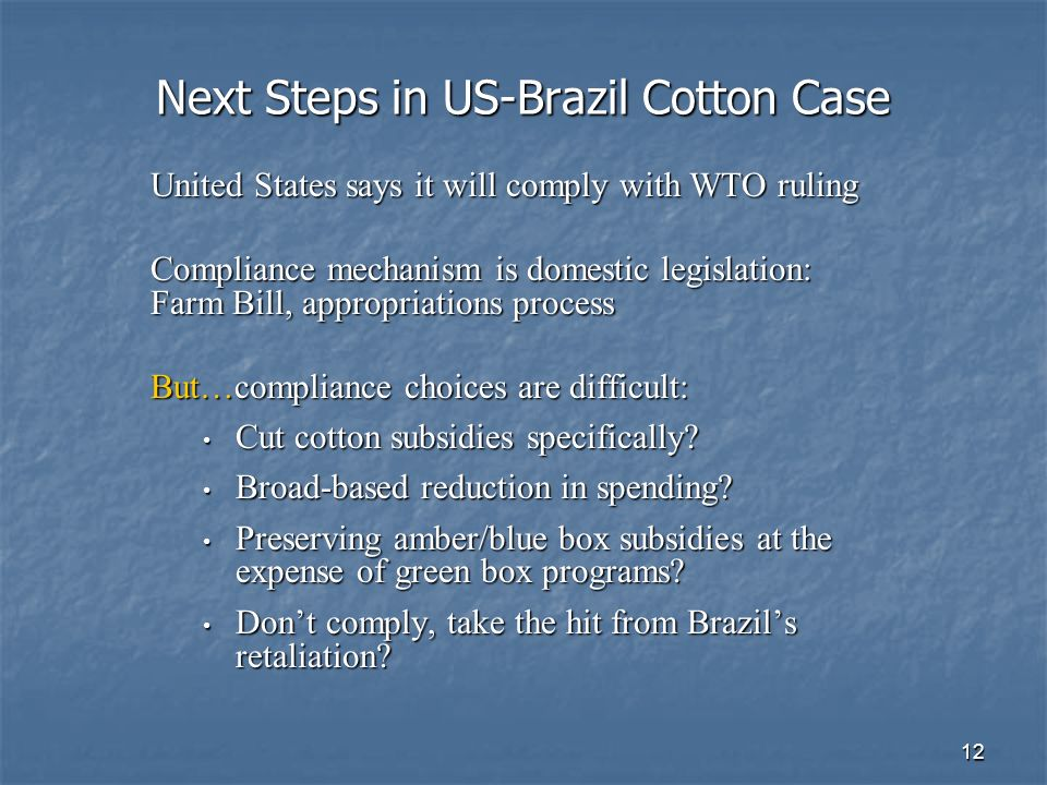12 Next Steps in US-Brazil Cotton Case United States says it will comply with WTO ruling Compliance mechanism is domestic legislation: Farm Bill, appropriations process But…compliance choices are difficult: Cut cotton subsidies specifically.