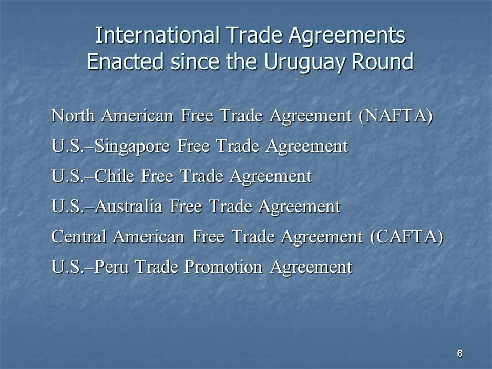 7 Agriculture at the WTO (1) Disciplines on Agriculture exempted from the first six rounds of GATT trade talks (late 1940s–mid 1980s) Disciplines on Agriculture exempted from the first six rounds of GATT trade talks (late 1940s–mid 1980s) Uruguay Round establishes WTO (1995) Uruguay Round establishes WTO (1995) Built-In Agenda at the WTO includes talks on agriculture, services, and intellectual property rights Built-In Agenda at the WTO includes talks on agriculture, services, and intellectual property rights Binding dispute resolution system at the WTO Binding dispute resolution system at the WTO Negotiating blocs: Cairns Group, G-77, G-20, The Quad Negotiating blocs: Cairns Group, G-77, G-20, The Quad