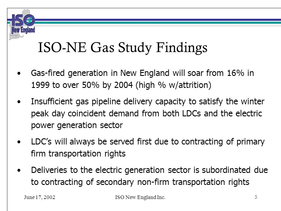 June 17, 2002ISO New England Inc.5 ISO-NE Gas Study Findings Gas-fired generation in New England will soar from 16% in 1999 to over 50% by 2004 (high % w/attrition) Insufficient gas pipeline delivery capacity to satisfy the winter peak day coincident demand from both LDCs and the electric power generation sector LDCs will always be served first due to contracting of primary firm transportation rights Deliveries to the electric generation sector is subordinated due to contracting of secondary non-firm transportation rights