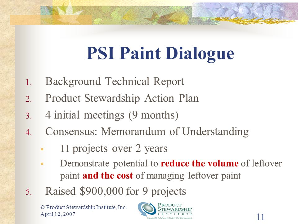 © Product Stewardship Institute, Inc. April 12, 2007 11 PSI Paint Dialogue 1.
