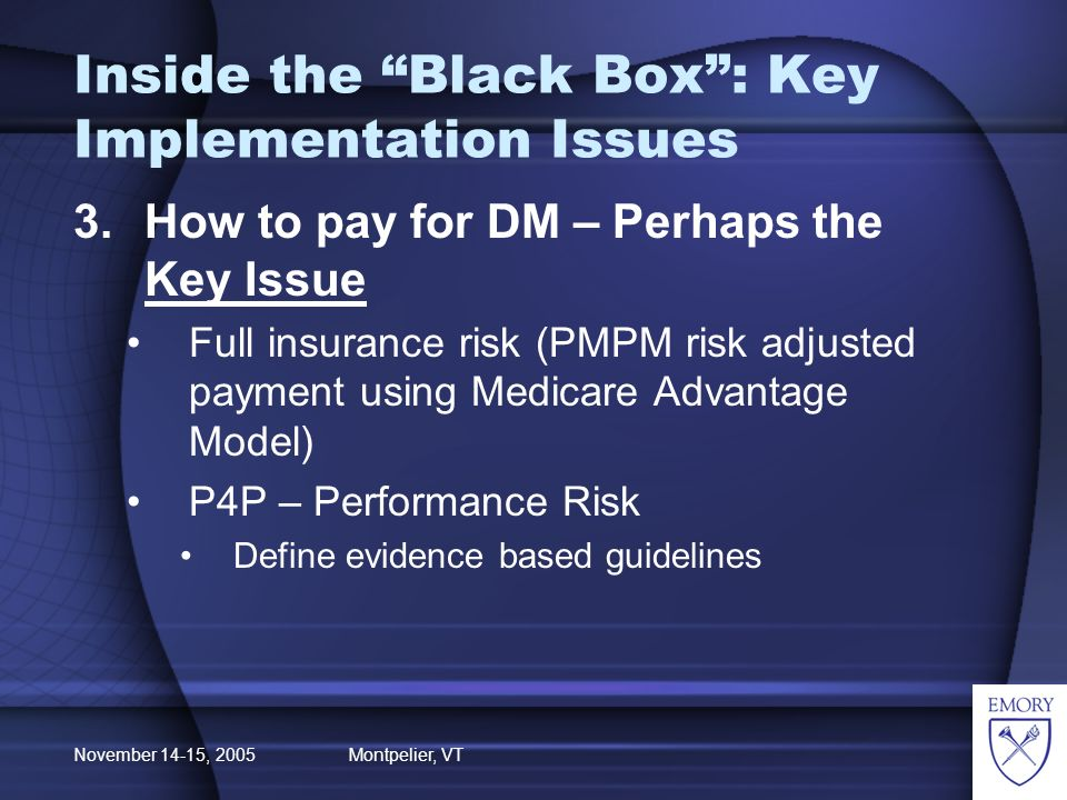 November 14-15, 2005 Montpelier, VT Inside the Black Box: Key Implementation Issues 3.How to pay for DM – Perhaps the Key Issue Full insurance risk (PMPM risk adjusted payment using Medicare Advantage Model) P4P – Performance Risk Define evidence based guidelines