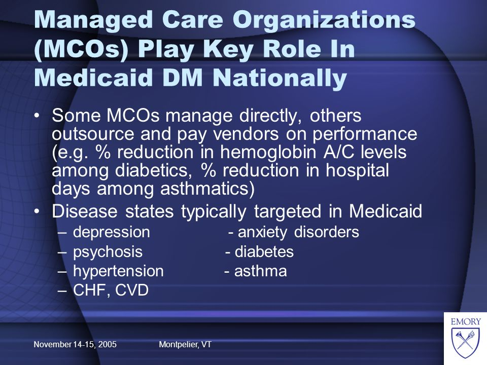 November 14-15, 2005 Montpelier, VT Managed Care Organizations (MCOs) Play Key Role In Medicaid DM Nationally Some MCOs manage directly, others outsource and pay vendors on performance (e.g.