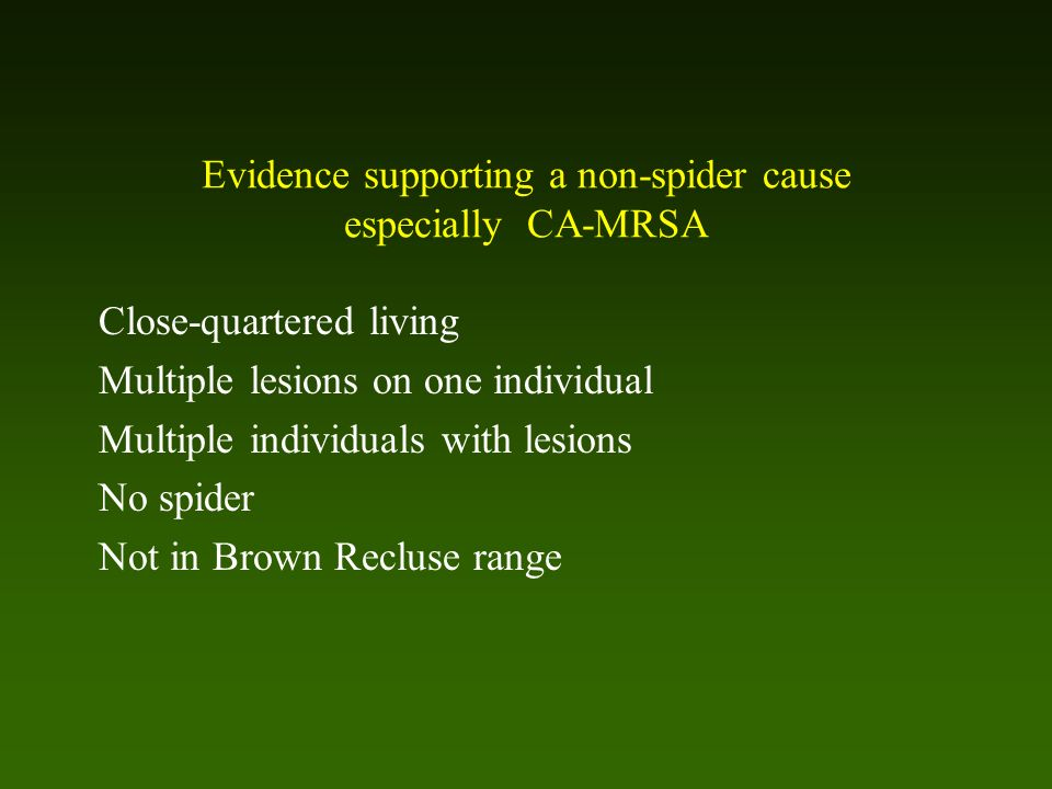 Evidence supporting a non-spider cause especially CA-MRSA Close-quartered living Multiple lesions on one individual Multiple individuals with lesions No spider Not in Brown Recluse range