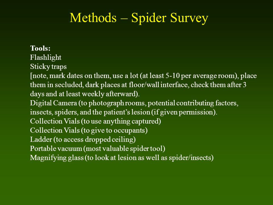 Methods – Spider Survey Tools: Flashlight Sticky traps [note, mark dates on them, use a lot (at least 5-10 per average room), place them in secluded,
