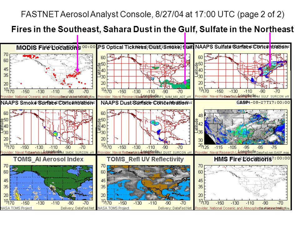 FASTNET Aerosol Analyst Console, 8/27/04 at 17:00 UTC (page 2 of 2) Fires in the Southeast, Sahara Dust in the Gulf, Sulfate in the Northeast