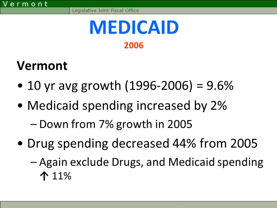 V e r m o n t Legislative Joint Fiscal Office MEDICAID 2006 Vermont 10 yr avg growth (1996-2006) = 9.6% Medicaid spending increased by 2% –Down from 7% growth in 2005 Drug spending decreased 44% from 2005 –Again exclude Drugs, and Medicaid spending 11%