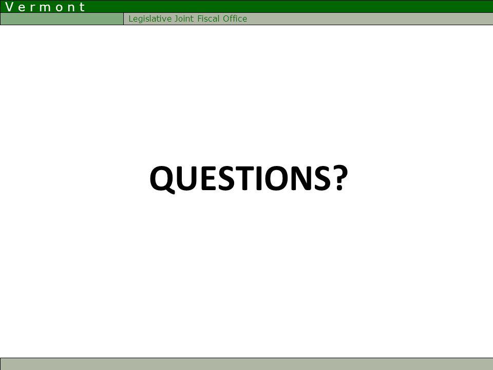 V e r m o n t Legislative Joint Fiscal Office QUESTIONS